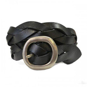 LOUISE - Womens Black Leather Plait Belt  - Belt N Bags