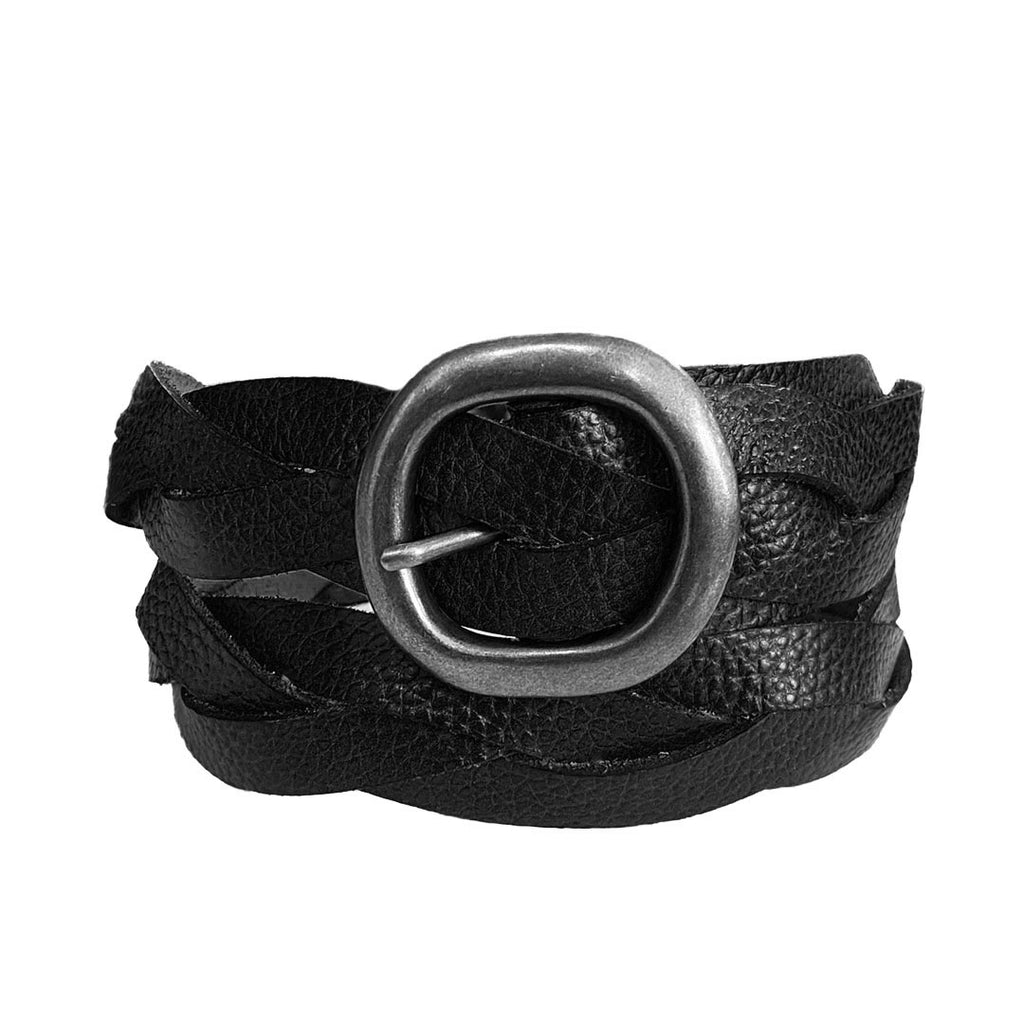 LOUISE - Womens Black Leather Plait Belt