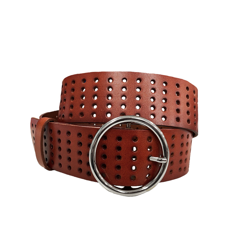 MIRANDA - Women's Dark Tan Genuine Leather Belt with Round Silver Buckle