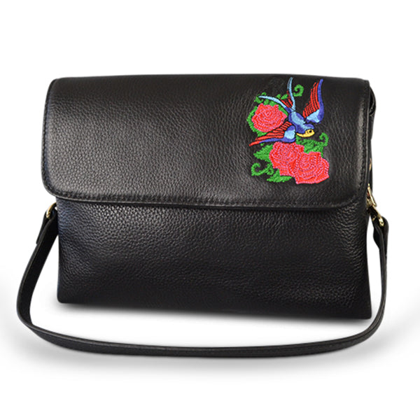 NAMBUCCA- Addison Road  - Black Pebbled Leather Fold Bag - Addison Road