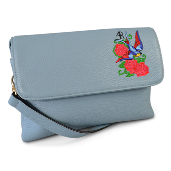 NAMBUCCA- Addison Road  - Blue Pebbled Leather Fold Bag with Embroidery - Addison Road