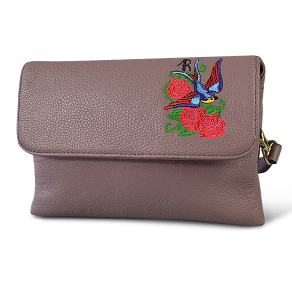 NAMBUCCA- Addison Road  - Lilac Pebbled Leather Fold Bag - Addison Road
