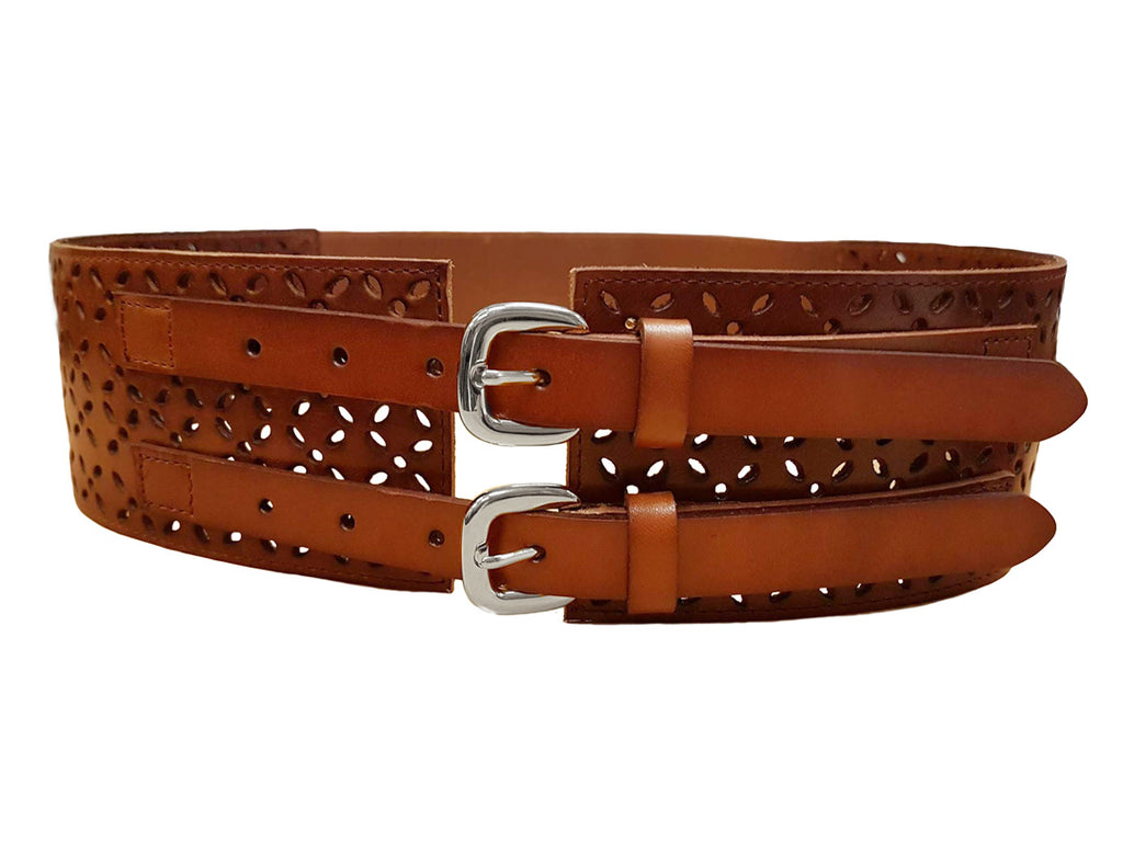 PICTON - Addison Road Double Buckle Tan Waist Belt