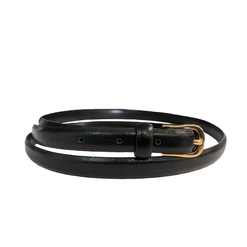 PIPER - Womens Black Genuine Leather Skinny Belt