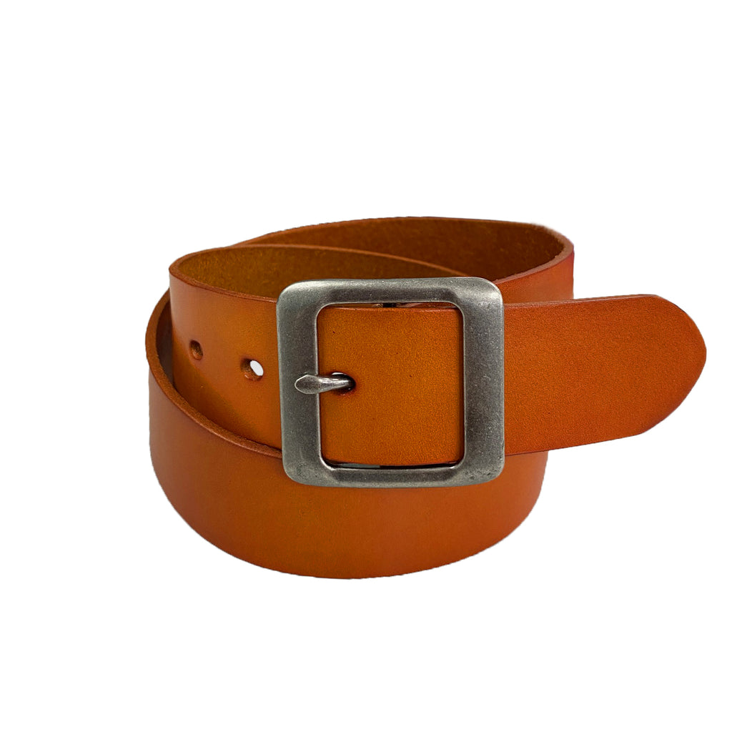 ROSEDALE - Women's Tan Genuine Leather Belt with Square Silver Buckle