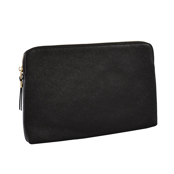 SORRENTO - Addison Road - Black Structured Saffiano Clutch - Addison Road