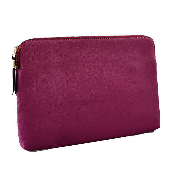 SORRENTO - Addison Road  Magenta Structured Saffiano Clutch - Addison Road