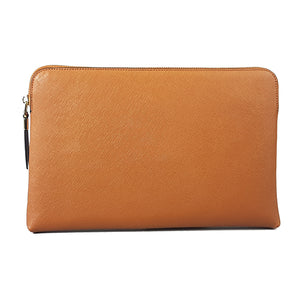 SORRENTO - Addison Road - Cognac Structured Saffiano Clutch - Addison Road