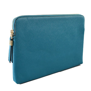 SORRENTO - Addison Road - Peacock Structured Saffiano Clutch - Addison Road