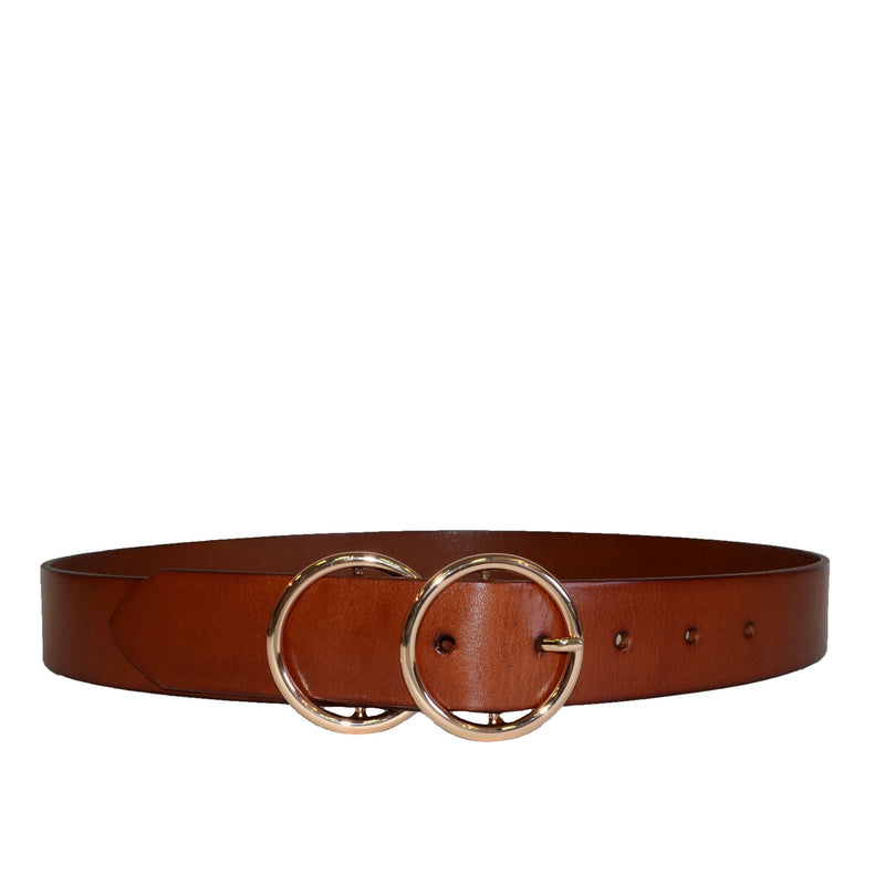 TOWNSVILLE - Womens Tan Double Ring Leather Belt