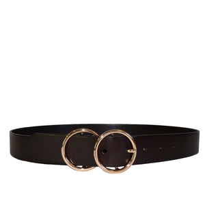 TOWNSVILLE - Womens Dark Brown Double Ring Leather Belt