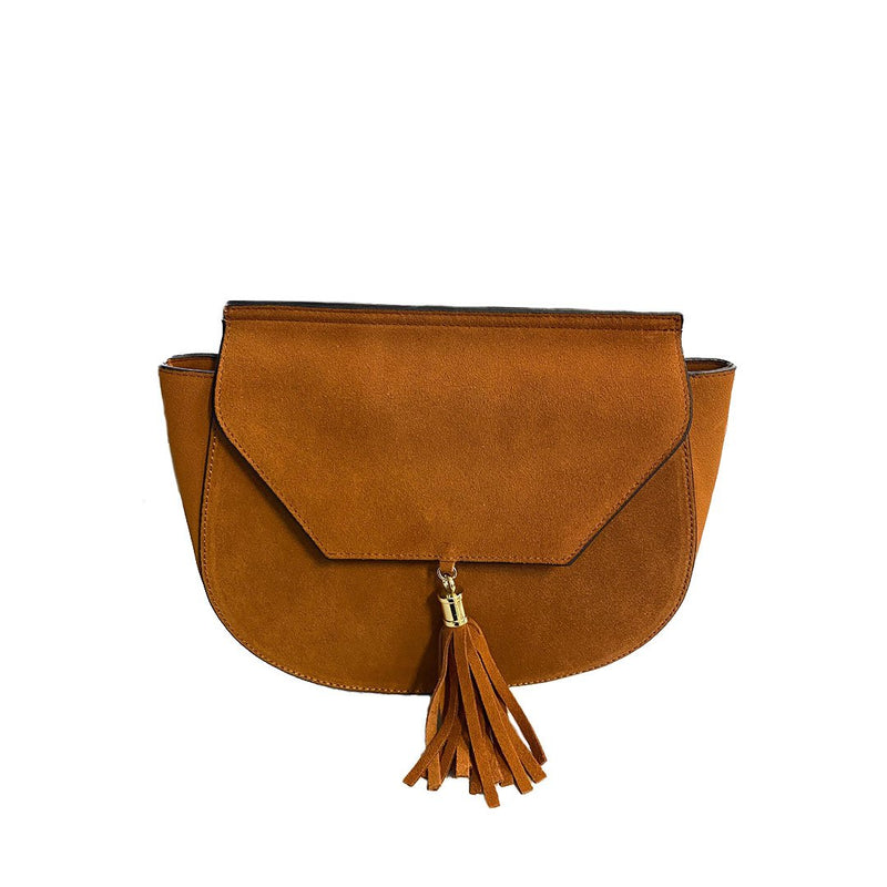 TAMARAMA - Addison Road Brown suede saddlebag  - Belt N Bags
