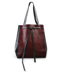 TOORAK- Addison Road Wine Red Leather Hero Cowhide Tote Bag - Addison Road