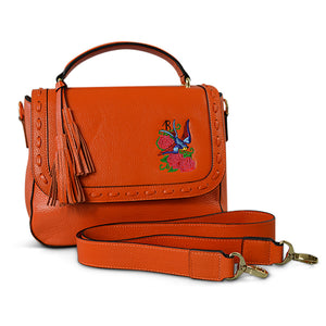 YAMBA- Addison Road  - Orange Pebbled Leather Structured Bag - Addison Road
