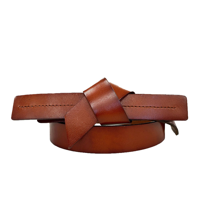 ALEXANDRIA - Women's Tan Genuine Leather Knot Belt