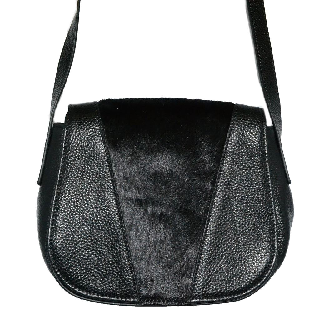 BERRY - Addison Road Pebbled Leather Saddle Bag with Black Calfhair - Addison Road