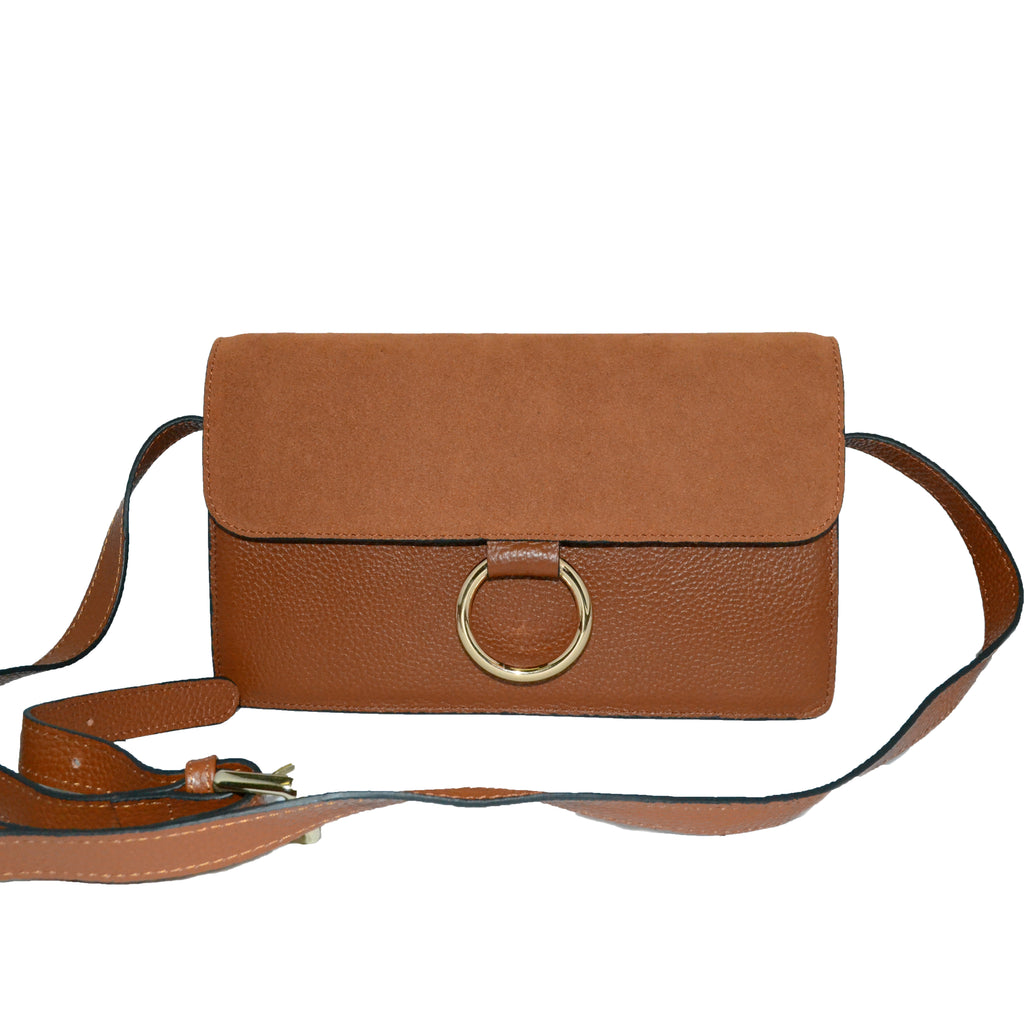 COBURG - Tan Pebbled Leather and Suede Cross-body Gold Ring Bag - Addison Road