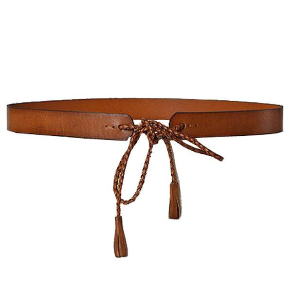 DARLINGHURST - Tan Slim Leather Waist Belt with Braided tie - Addison Road