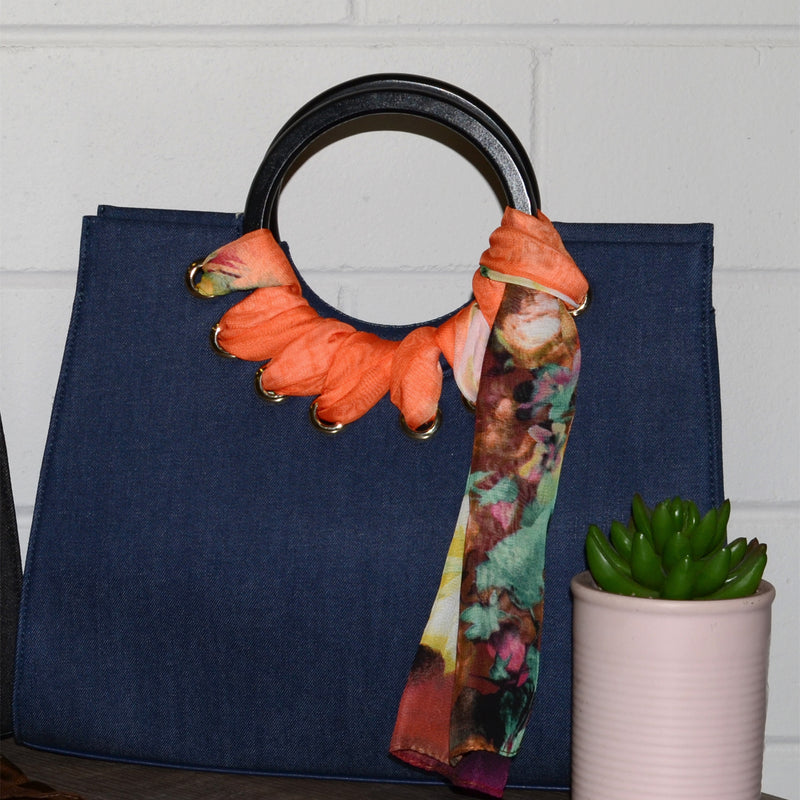 QUEENSCLIFF - Navy Denim Ring Handle Bag with Scarf