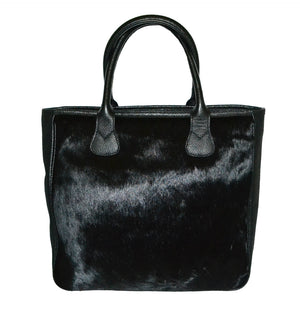 EMERALD - Black Genuine Leather and Calf-Hair Tote Bag