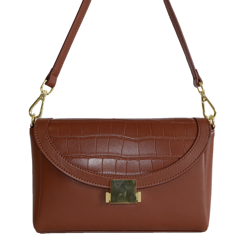 LISMORE-  Brown Crocodile Look Leather Cross Body Clutch