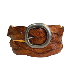 LOUISE - Womens Tan Leather Plait Belt  - Belt N Bags
