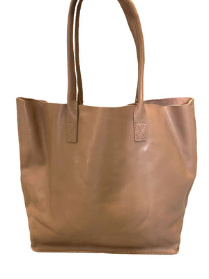 BIRCHGROVE - Nude Genuine Leather Shopper Slouch Tote - CLEARANCE