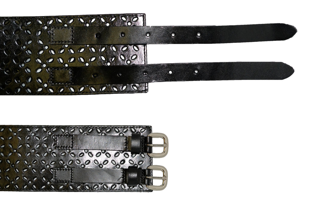 PICTON - Addison Road Double Buckle Black Double Buckle Waist Belt