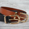 POINT PIPER - Addison Road Black Genuine Leather Belt with Gold Buckle