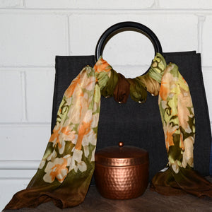 QUEENSCLIFF - Charcoal Denim Ring Handle Bag with Scarf - CLEARANCE