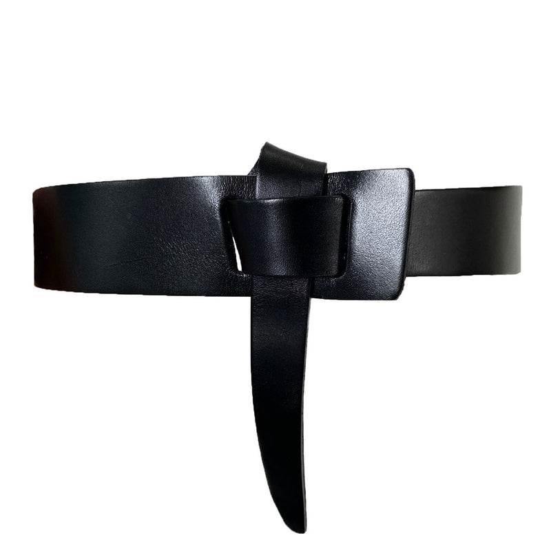 SEAFORTH - Women's Black Genuine Leather Knot Belt