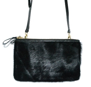 ST KILDA - Addison Road Black Genuine Leather Crossbody with black calf hair - Addison Road
