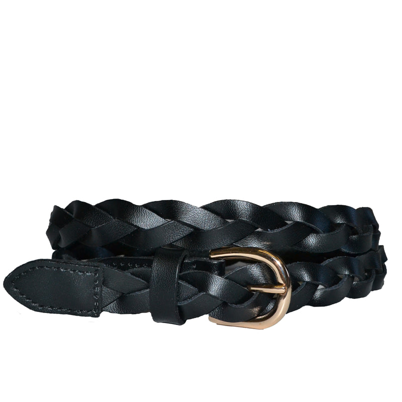 WAVERLY - Black Skinny Leather Plaited Belt with Gold Buckle - Addison Road