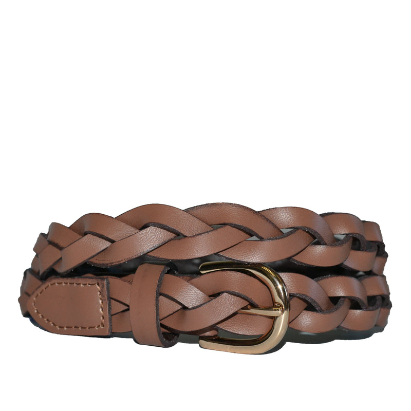 WAVERLY - Brown Skinny Leather Plaited Belt with Gold Buckle - Addison Road