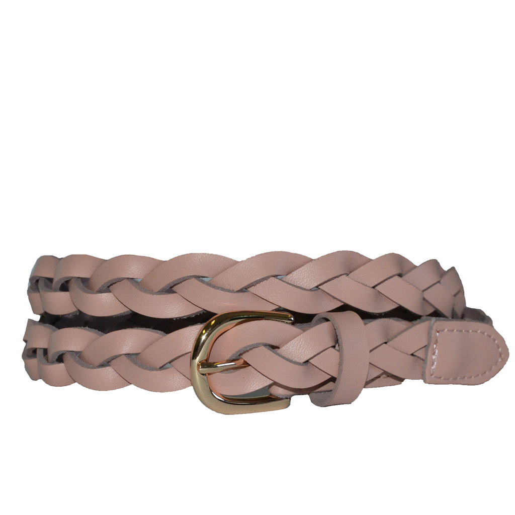 WAVERLY - Blush Pink Skinny Leather Plaited Belt with Gold Buckle - Addison Road