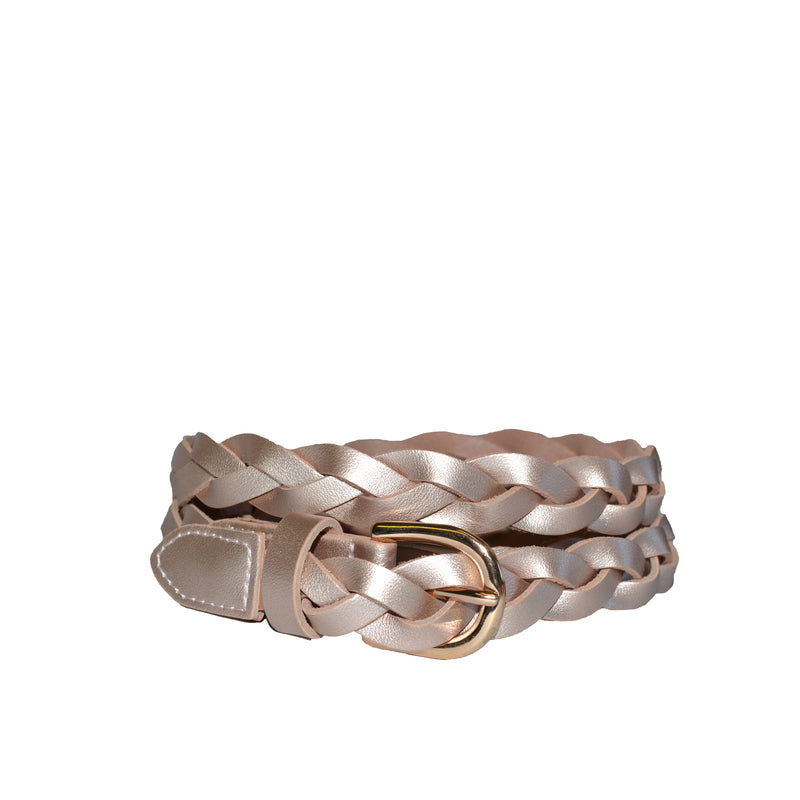 WAVERLY - Rose Gold Leather Plaited Belt