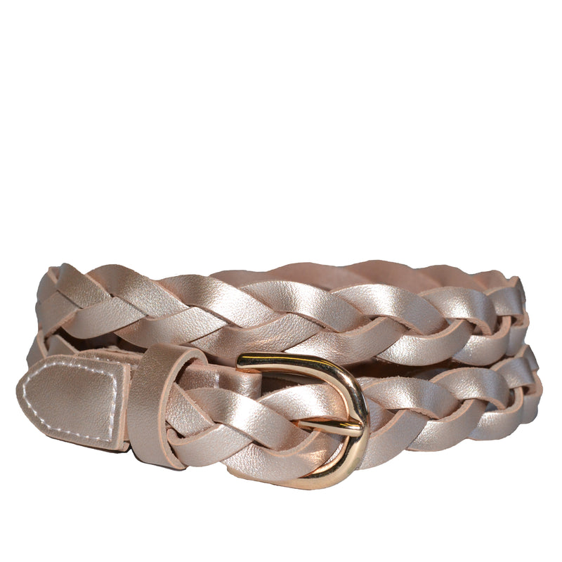 WAVERLY - Rose Gold Skinny Leather Plaited Belt with Gold Buckle - Addison Road