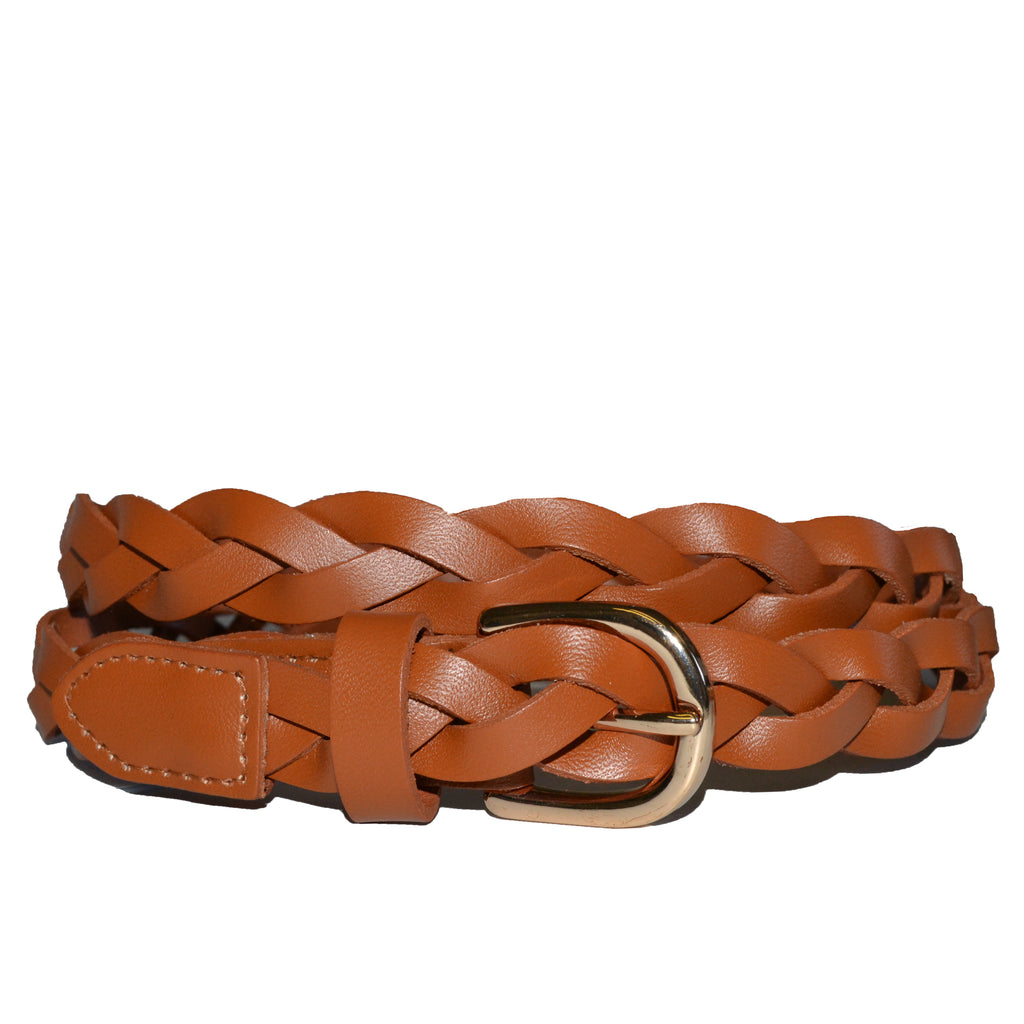 WAVERLY - Womens Tan Leather Plaited Belt with Gold Buckle - Addison Road