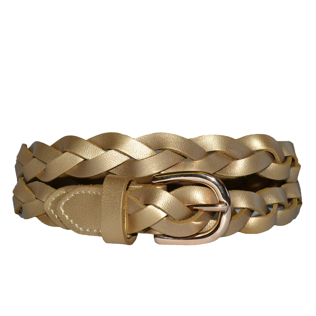 WAVERLY - Gold Skinny Leather Plaited Belt with Gold Buckle - Addison Road