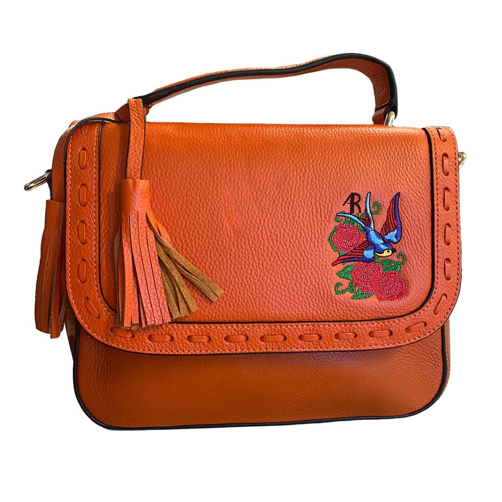 YAMBA- Addison Road  - Orange Pebbled Leather Structured Bag - CLEARANCE