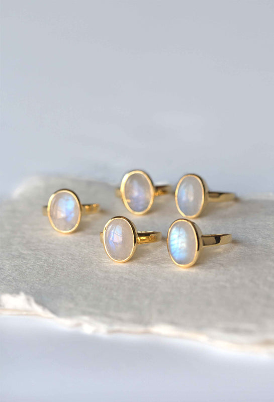 Large Moonstone Gold Ring