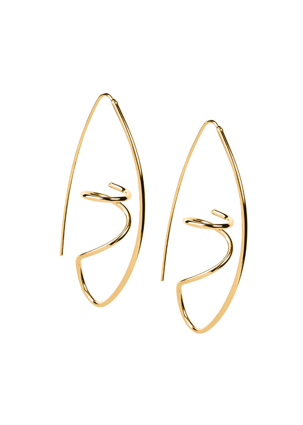 Abstract Wire Hoops Earrings - Gold