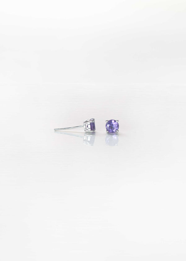 Amethyst Stud Earrings Sterling Silver