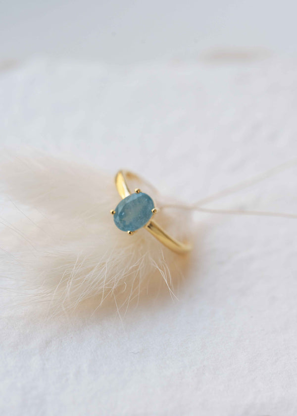 Aquamarine Gold Ring Stacking March Birthstone