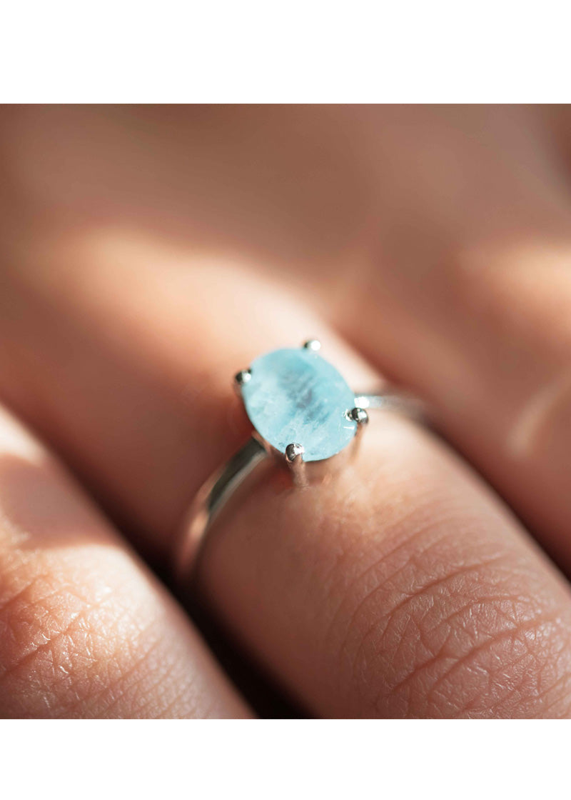 Aquamarine Silver Ring, March Birthstone, Natural Raw Aquamarine