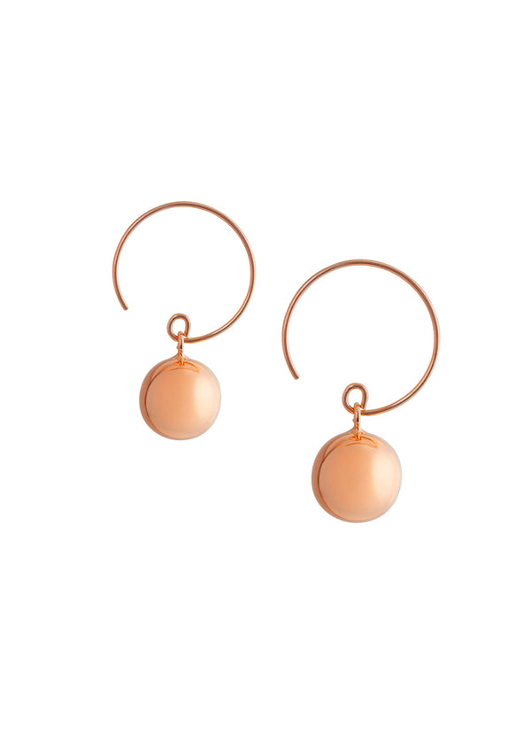 Ball Wire Hoops Earrings - Rose Gold Vermeil