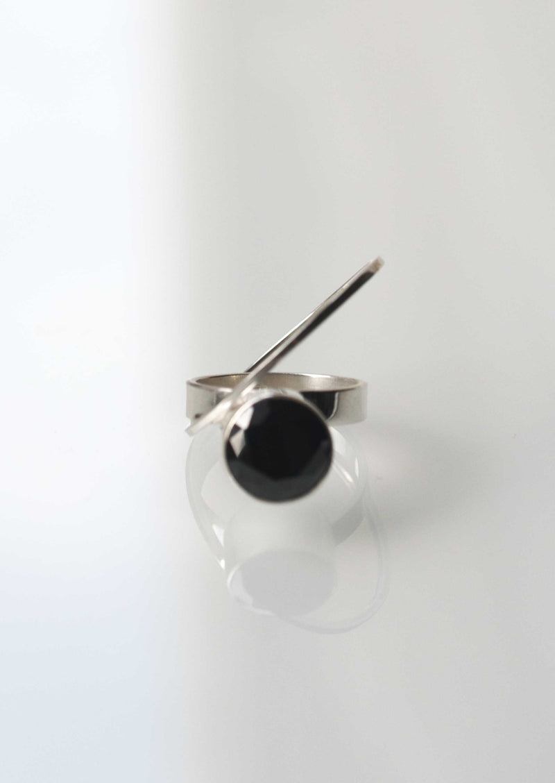 black statement ring sterling silver modern geometric jewelry bold
