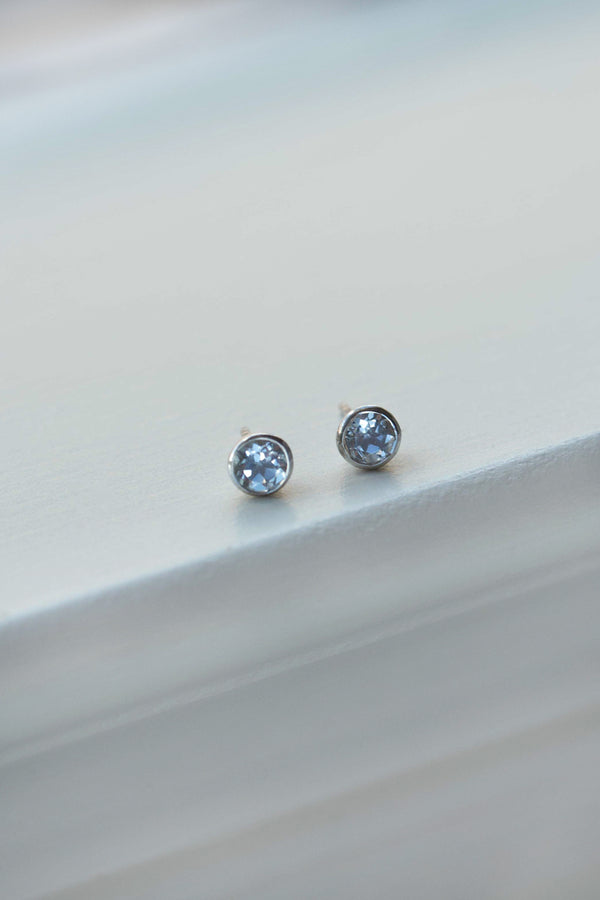 blue topaz studs sterling silver earrings