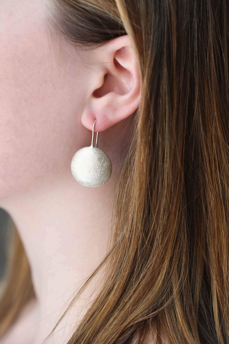 brushed circle earrings, statement earrings, silver earrings