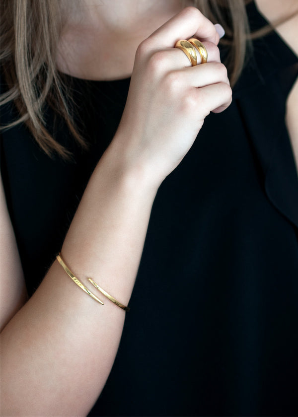 Crossover Bangle, 18k gold bangle bracelet